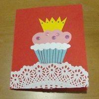 Tarjeta con magdalena. Manualidades del Día de la Madre