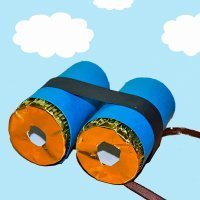 Prismáticos con rollos de papel. Manualidad infantil de reciclaje