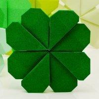 Trébol de la suerte de origami. Manualidades infantiles con papel