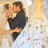 Los hijos de Angelina Jolie llenan de dibujos su vestido de novia