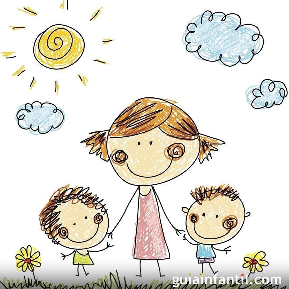Mam con sus hijos dibujos para colorear el d a de la - Como decorar un dibujo de una castana ...