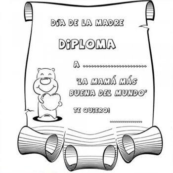 Diplomas Día de la Madre. Dibujos para colorear con niños