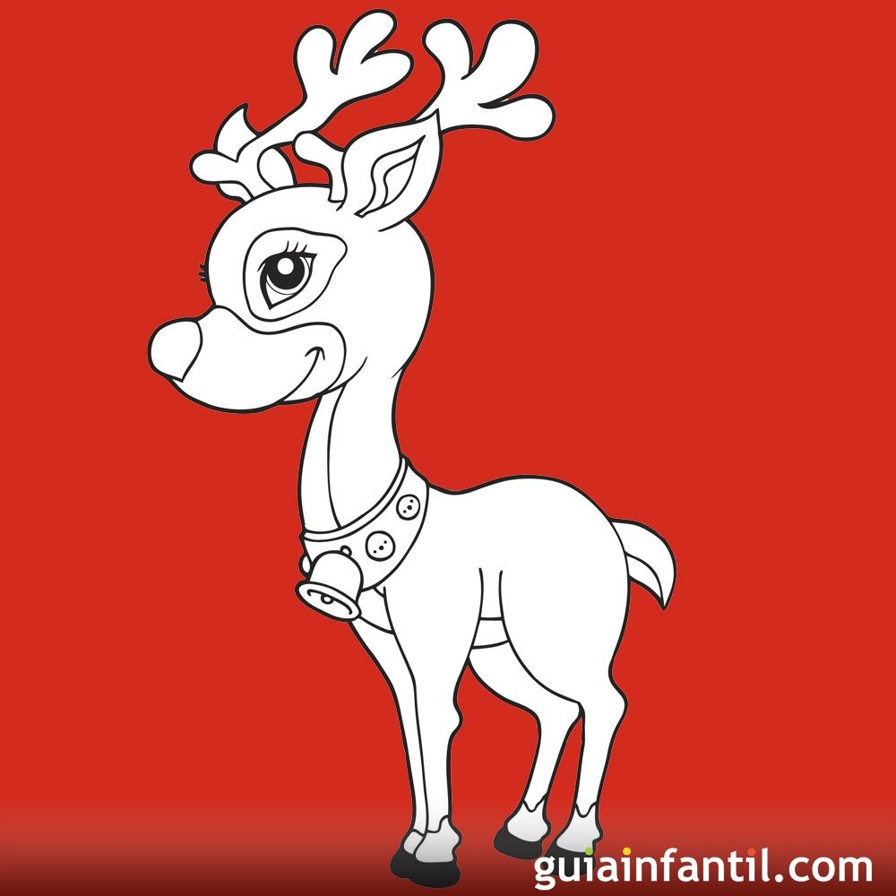 Dibujo de reno elegante para colorear Dibujos infantiles