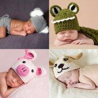 Disfraces hechos de punto para bebés. Animales