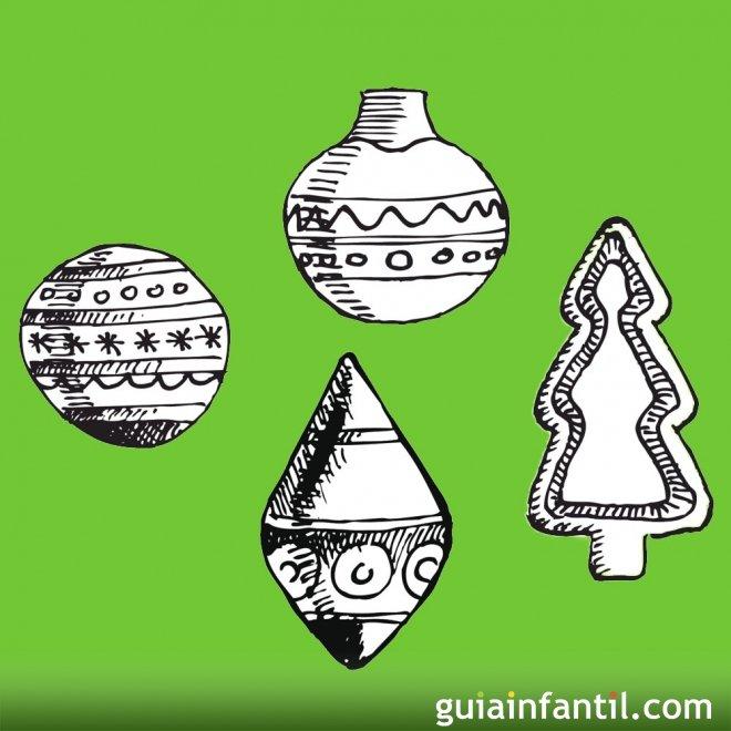 Dibujos para colorear de bolas navideñas