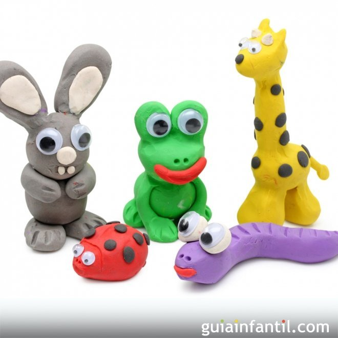 Animales de la selva de plastilina. Manualidades infantiles
