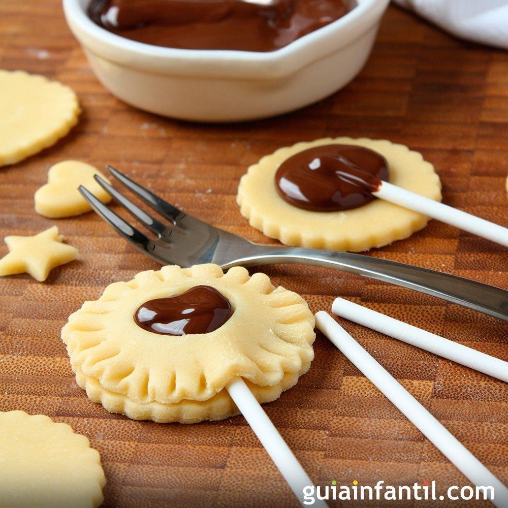 Cookie pops para ni os galletas divertidas con chocolate - Comida para navidad facil ...