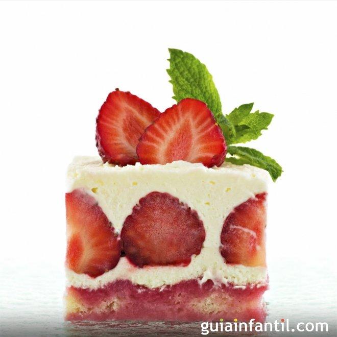 Pastel de fresas para niños con margarina