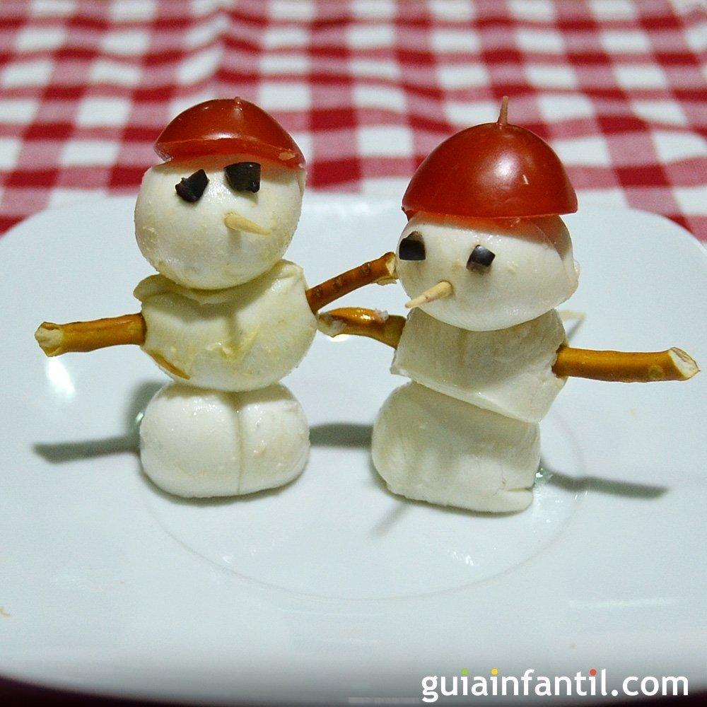 Mu eco de nieve de mozzarella canap s de navidad for Canape para navidad
