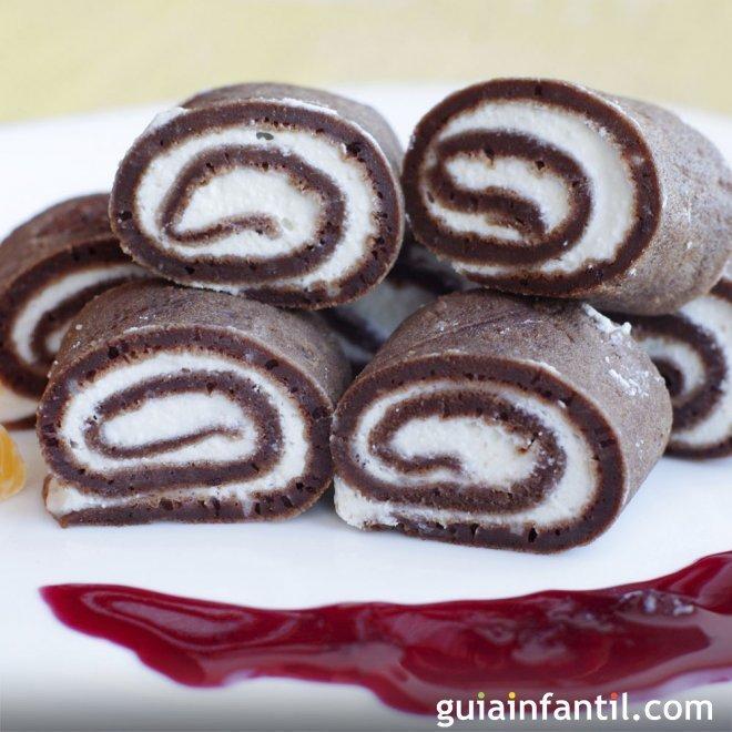 Crepe de chocolate con queso mascarpone. Postre para niños