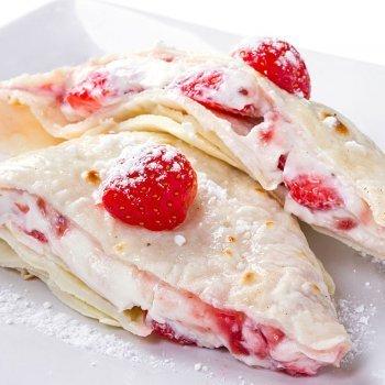 Crepe con queso mascarpone y fresas