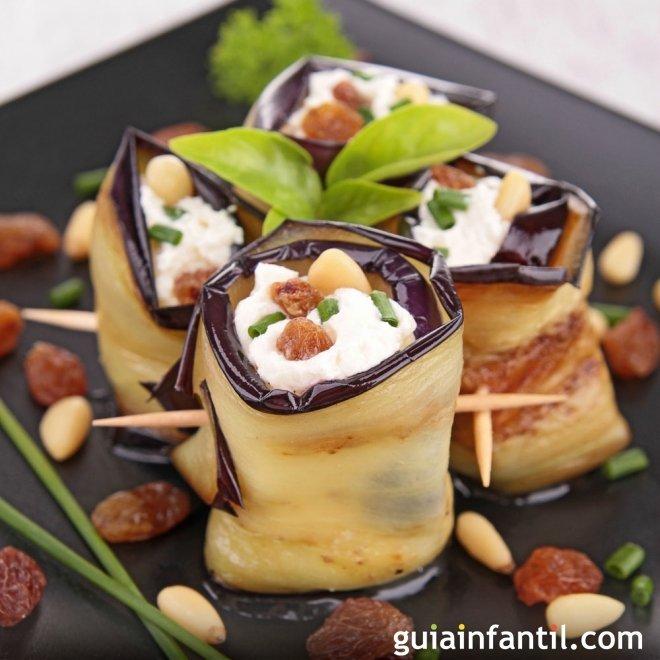 Receta de rollitos de berenjenas con queso para niños