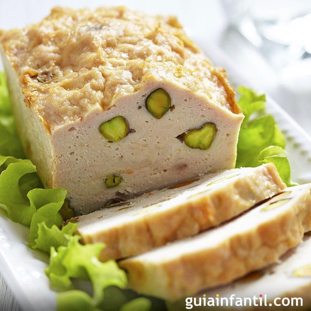Terrina de pollo con pistachos receta f cil para ni os for Comida facil y sencilla