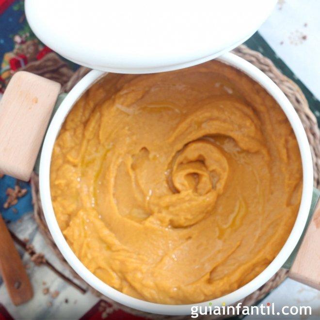 Crema de castañas y boniato rojo. Receta ligera para Navidad