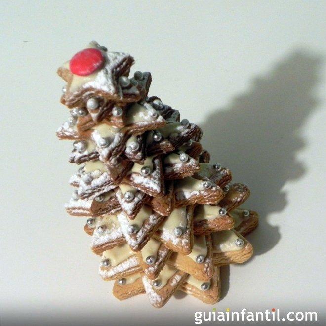 Abeto de galletas de azúcar y chocolate blanco para Navidad