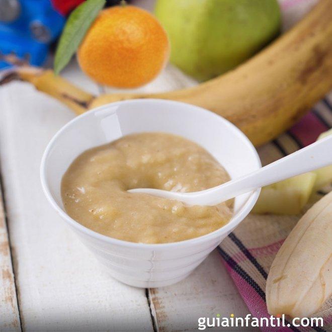 Papilla de plátano, manzana y mandarina