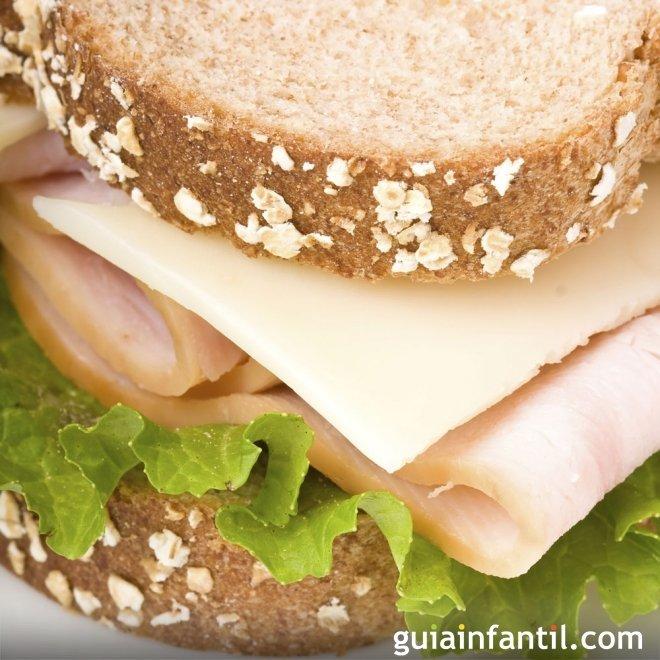 Sándwich integral de pavo y queso a las finas hierbas