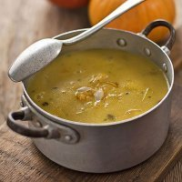 Sopa de semillas de soja y calabaza, para vegetarianos