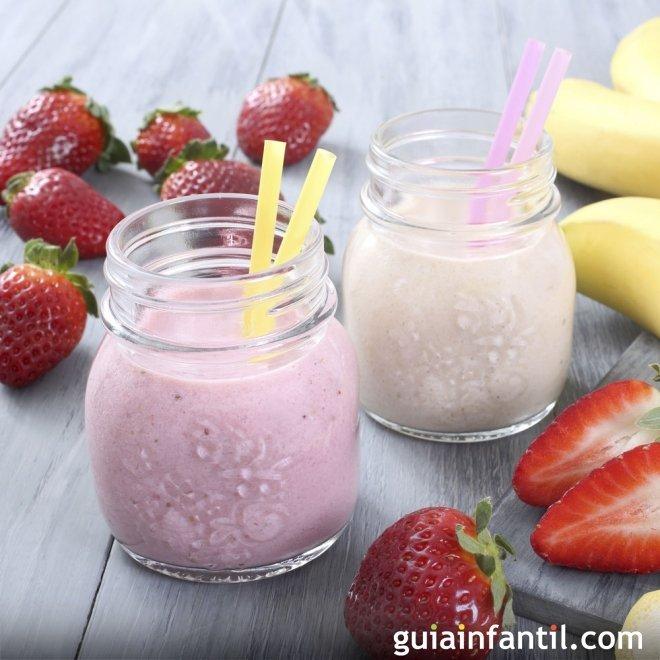 Batido de fresas y plátano con muchas vitaminas