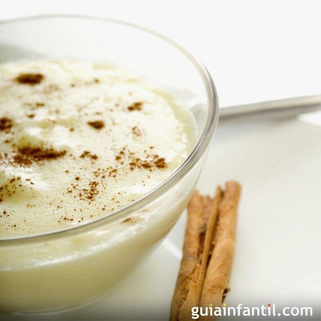Arroz con leche de soja, postre sano para niños