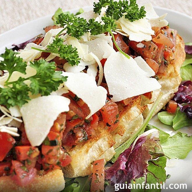 Tosta de pan sin gluten con verduras