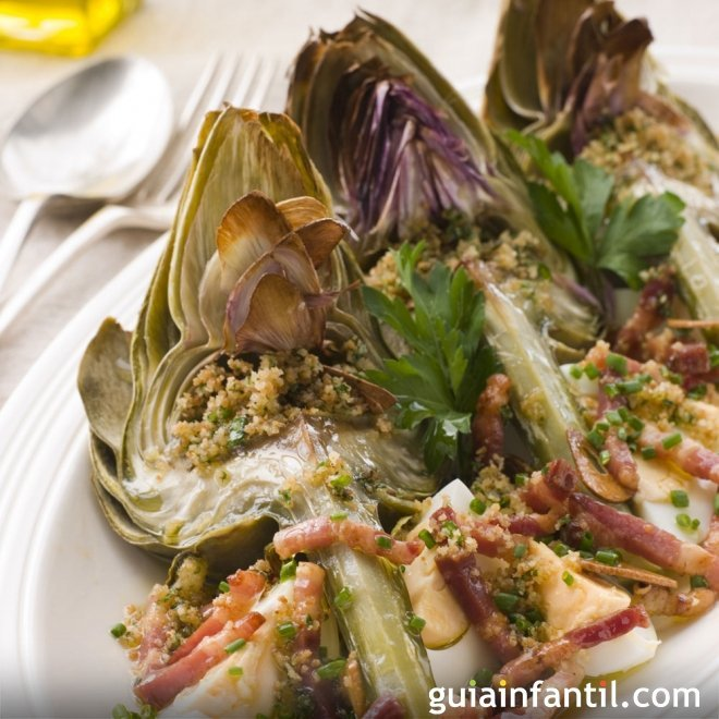 Alcachofas con jamón, receta para niños rápida y sana