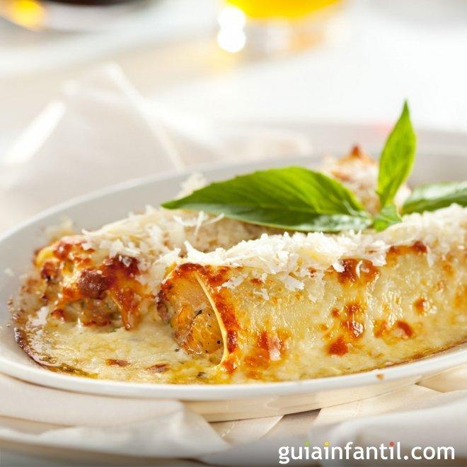 Canelones de pollo y queso ricotta, cocina italiana para niños