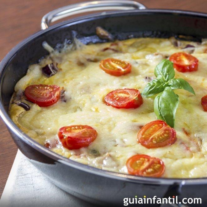 Tortilla fácil de tomates cherry y queso de cabra