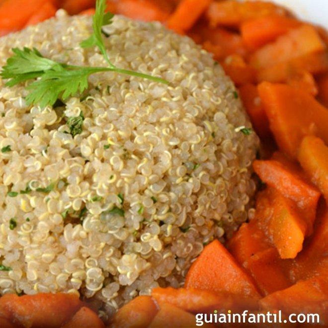 Goulash de quinua con calabaza y zanahoria. Recetas para niños