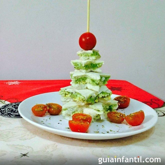 Árbol de Navidad con pan de molde. Recetas navideñas