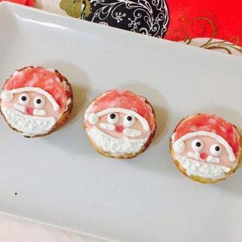 Muffins salados de Navidad con la cara de Papá Noel