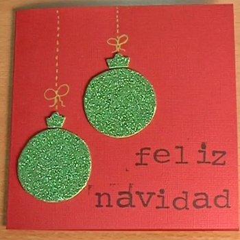 Felicitación de Navidad con bolas brillantes, manualidades con los niños