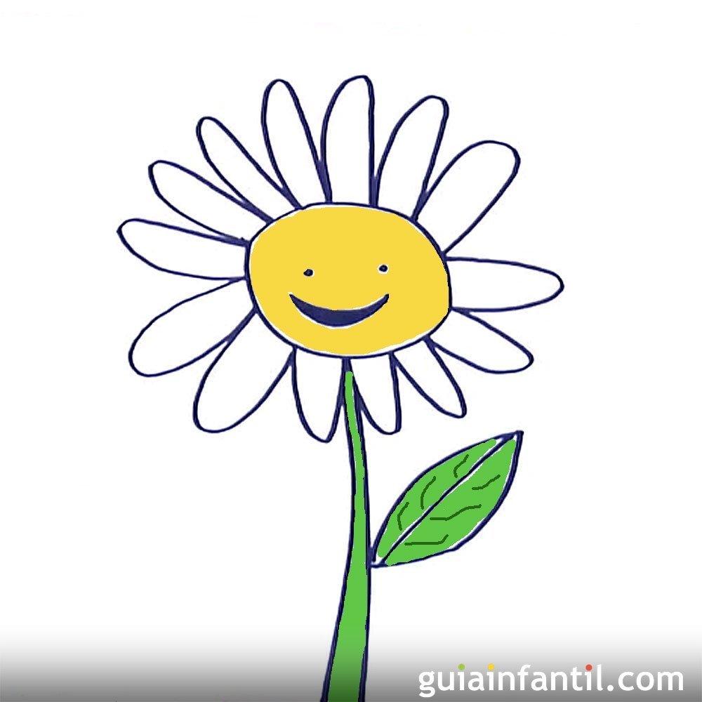 C mo dibujar una margarita dibujos de flores para ni os - Dibujos infantiles de bebes ...