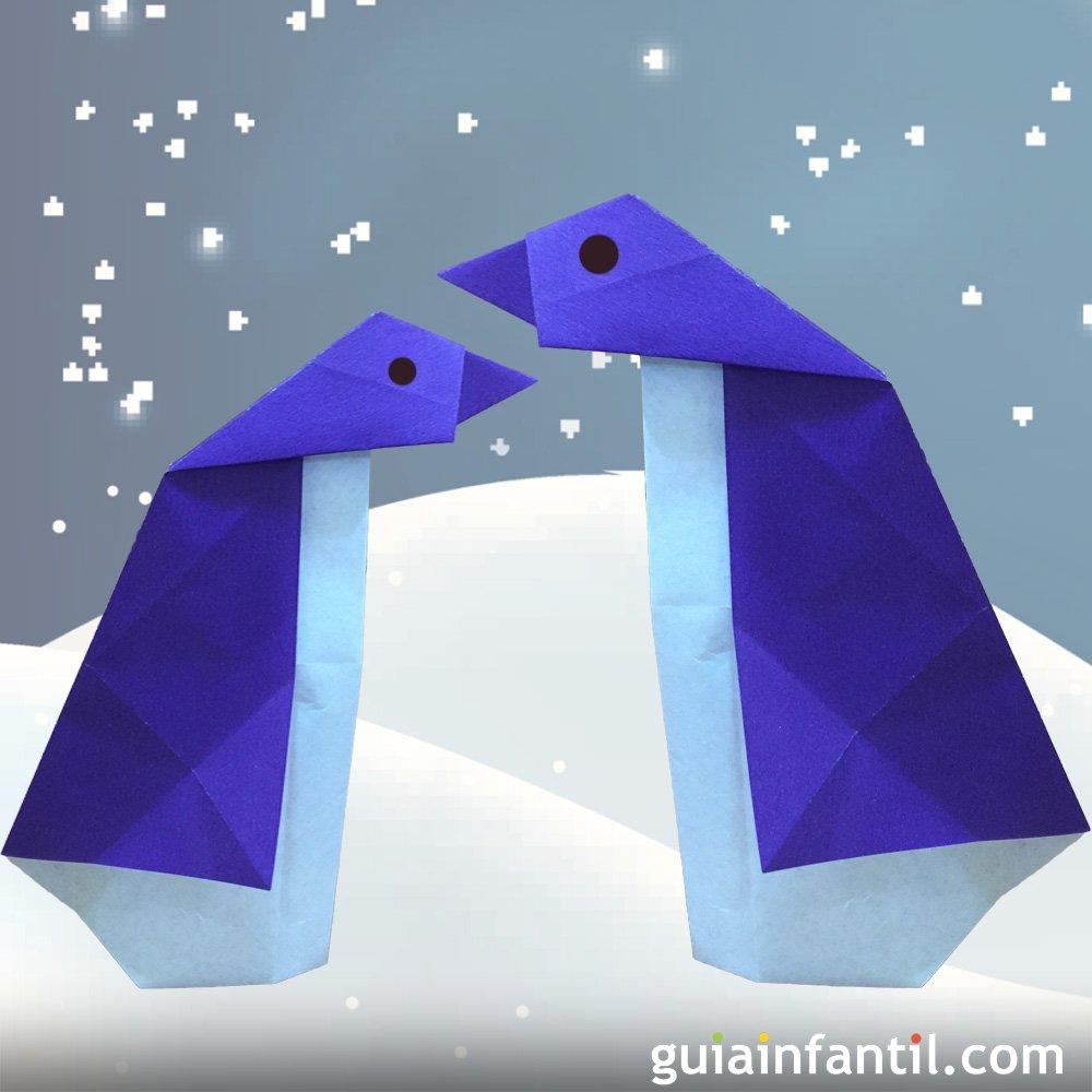 Aprende a hacer un ping ino de papel origami para ni os for Papel decomural para ninos