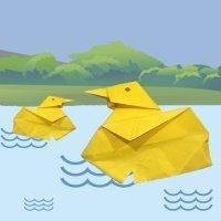 Pato de papel de origami para niños