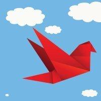 Origami, un pájaro de papel que aletea