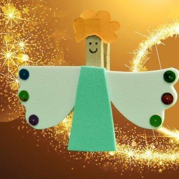 Ángel de pinza para el árbol de Navidad. Manualidad infantil