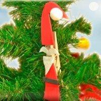 Papá Noel de pinza. Adornos de Navidad para niños