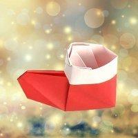 Cómo hacer una bota de Papá Noel de origami. Papiroflexia para niños