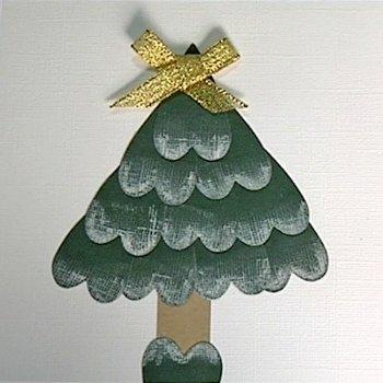 Postal navideña. Un árbol de Navidad. Manualidades con niños