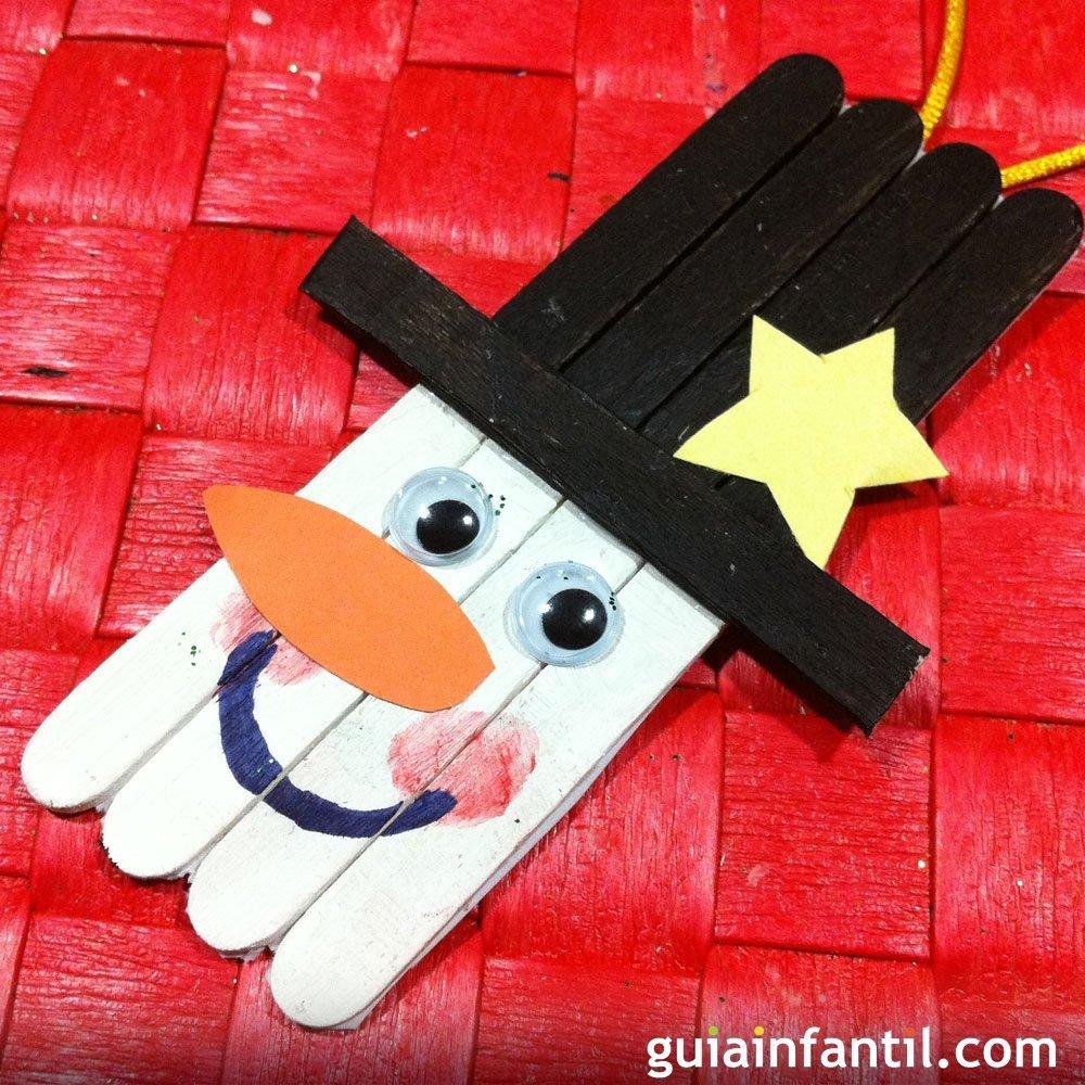Mu eco de nieve para decorar la navidad manualidades con for Decoracion navidena para ninos