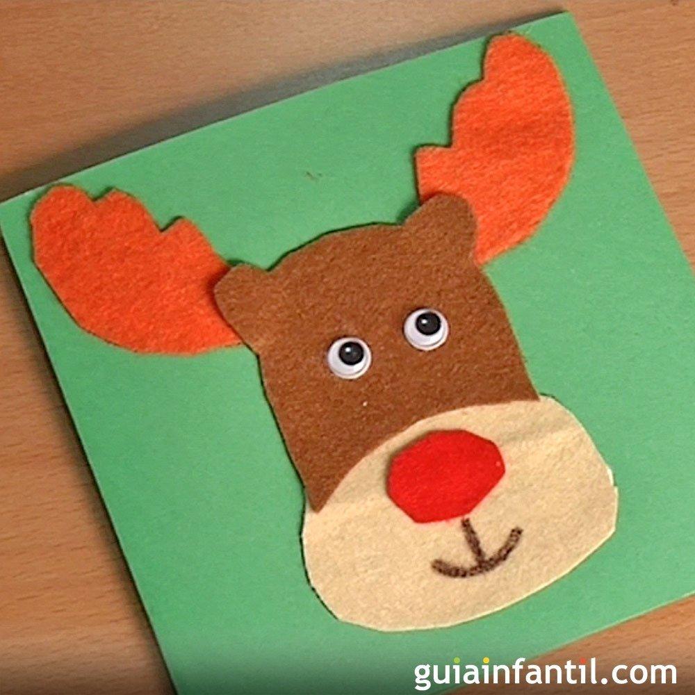 C mo hacer una postal de navidad con un reno de fieltro - Como hacer manualidades navidenas para ninos ...
