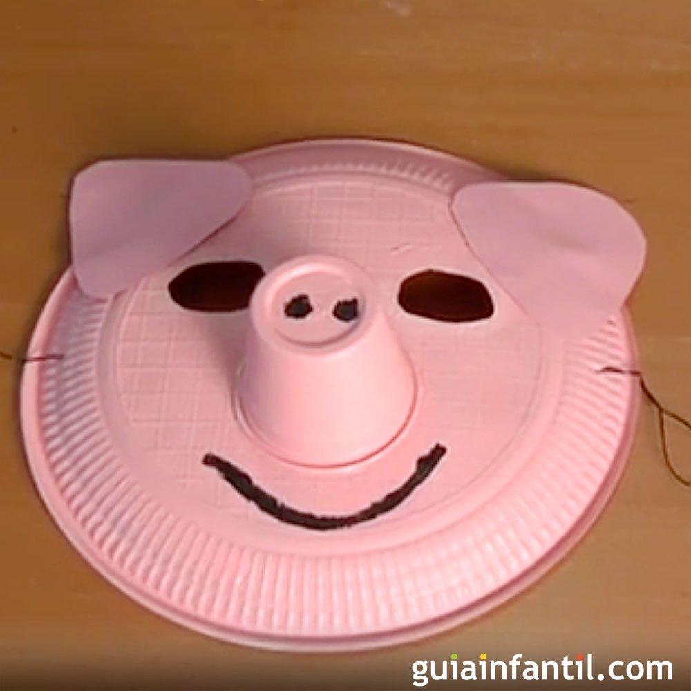 Manualidades de disfraces, una máscara de cerdo