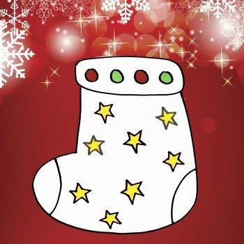 Dibujo infantil de Navidad. Bota navideña