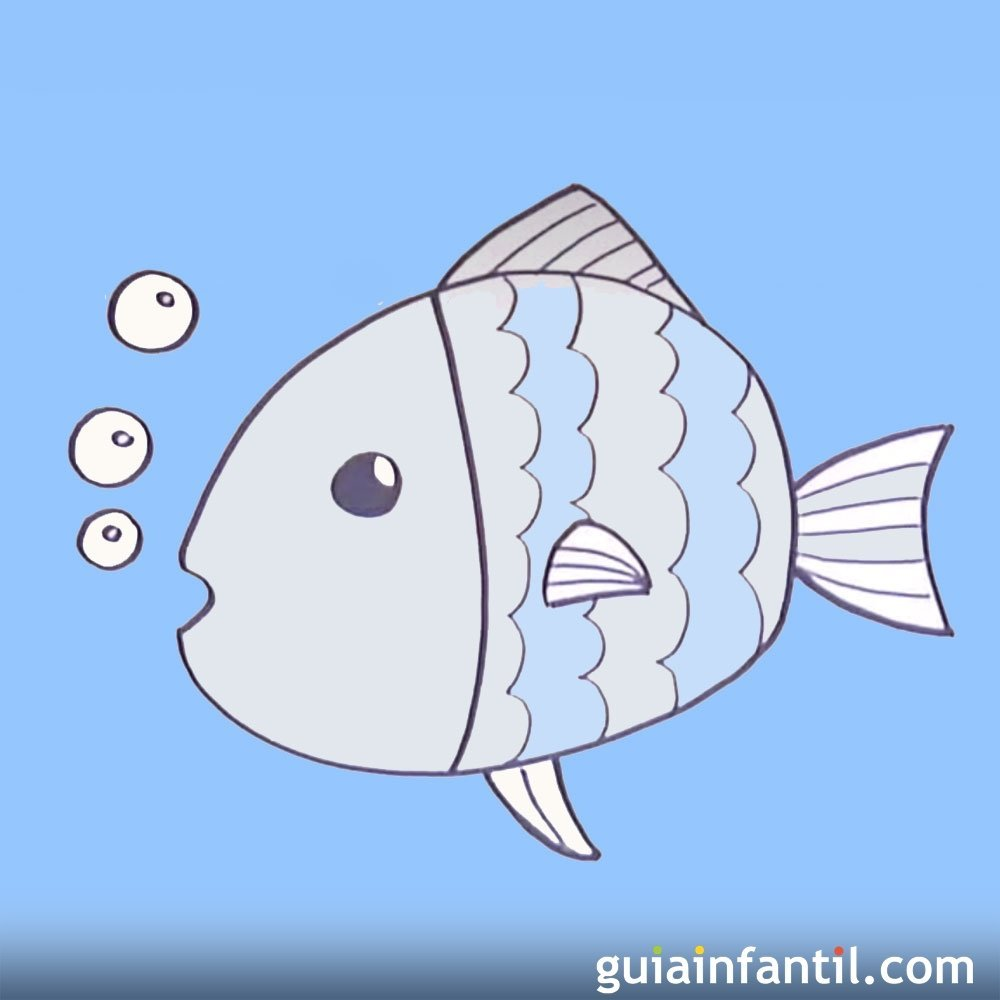 Dibujos para ni os de peces c mo dibujar un pez - Dibujos infantiles de bebes ...