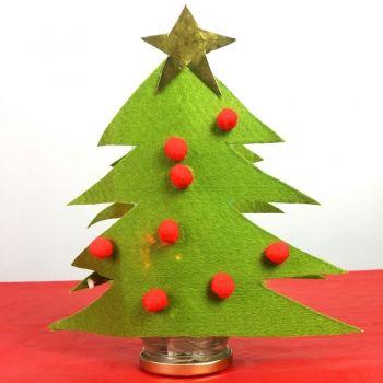 Lámpara con forma de árbol de Navidad. Manualidades para niños