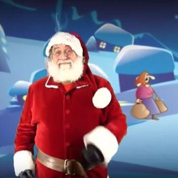 Villancico Ya viene la vieja bailado por Papá Noel. Canciones de Navidad