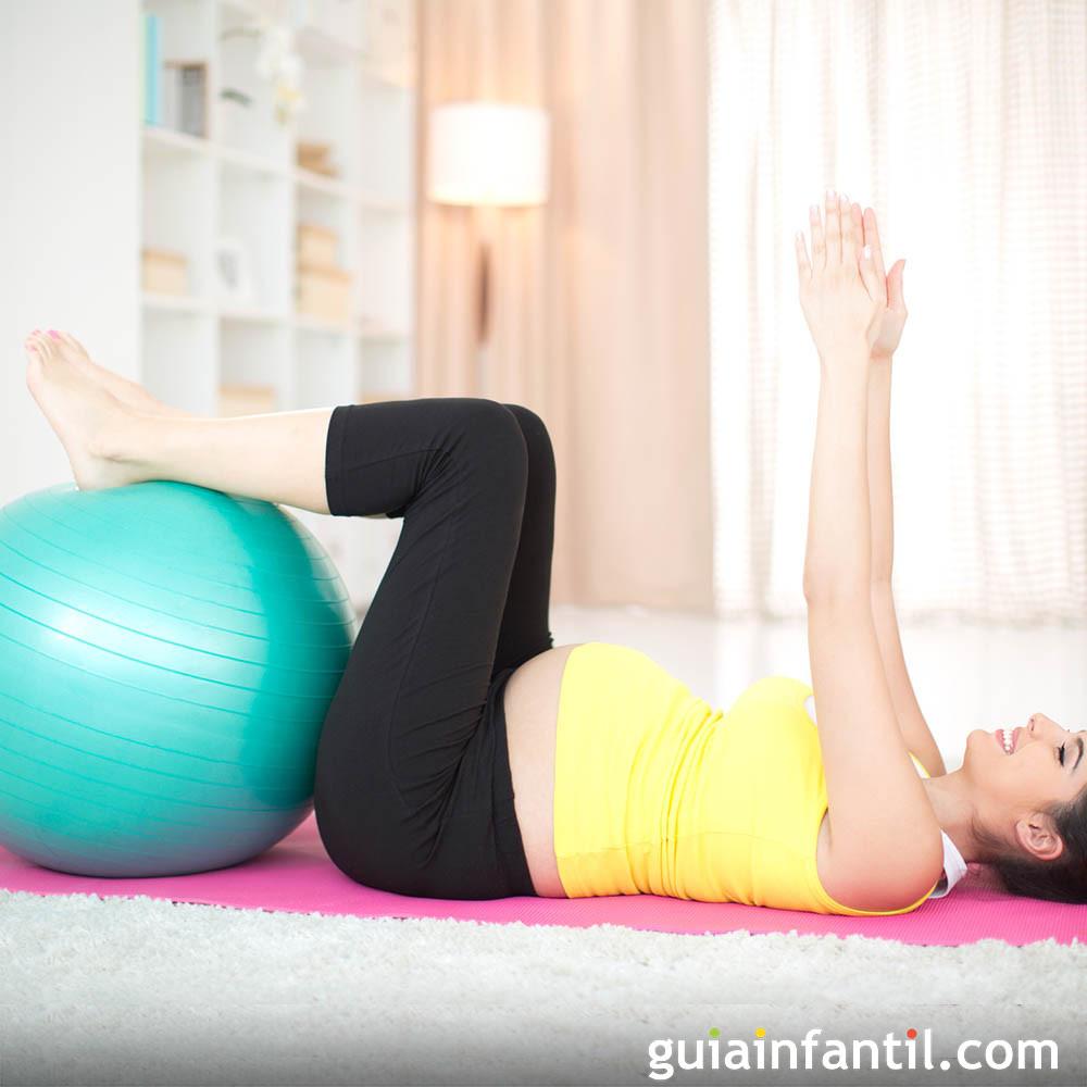 Respiración y ejercicio con pelota para la embarazada