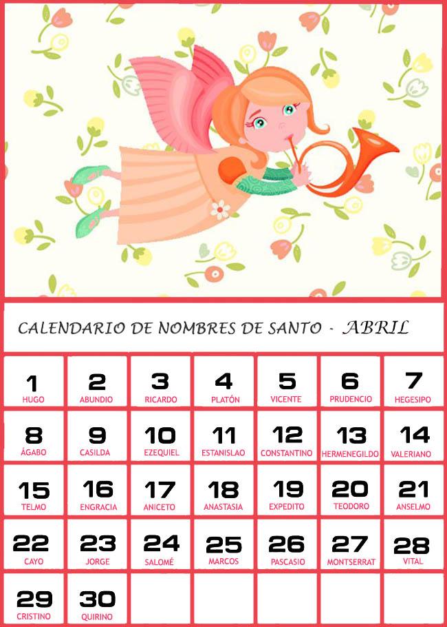 Calendario De Los Nombres De Santos De Abril