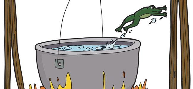 La rana y el agua hirviendo, fábula sobre el pensamiento crítico para niños